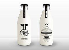 Branding and Packaging Design for Milk Producer Cornish Moo / World Brand Design Society Yogurt Packaging, Dairy Packaging, Cheese Packaging, Milk Packaging, Beverage Packaging, Bottle Packaging, Ideas Para Logos, Milk Brands, Coffee Label