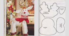 Renos navideños con sus respectivos moldes para adornar tu hogar Christmas Moose, Christmas Applique, Christmas Deco, Christmas Projects, Diy Christmas Ornaments, Handmade Christmas, Holiday Crafts, 242, Xmas Decorations