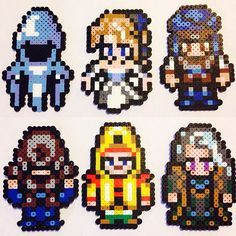 Final Fantasy VI perler beads by pixelizedcreations (Ghost, opera Celes, Returner rebel, Empire soldier, Cid and Setzer)