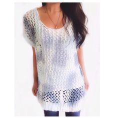 "Bobeau White & Blue Net Style Knit Tunic This beautiful tunic top has a large net like knit made up of ribbons in beautiful shades of blue & white. Nice for Spring.{actual color of item may vary slightly from photos}  •shoulders:23"" •chest:26"" •waist:26""w •length:25""  Material:45%nylon 55%acrylic ️️️️️hand wash  Fit:true Condition:no rips no stains  ❌no holds ❌no trades ♥️️bundles of 3/more items get 20% off bobeau Sweaters Crew & Scoop Necks"