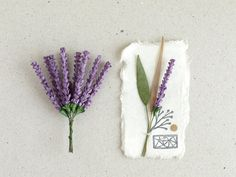 Lavender Flowers - 10 Violet mulberry paper flowers with wire stems - Miniature - Great for scrapbooking, wedding favour & boutonnierres