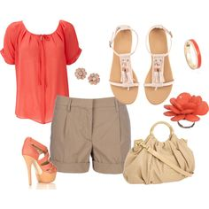 Coral outfit.....minus those heels!