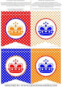 Koninginnedag Printables-pakket. Printables for a Dutch Holiday.