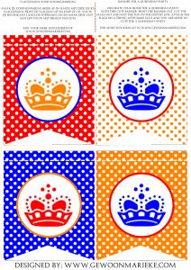 Koninginnedag Printables-pakket. Printables for a Dutch Holiday.