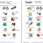 Spanish Sports and Equipment 18 IDs Worksheet by Sue Summers - use as an assignment, a quiz, to introduce vocabulary, student reference sheet or have students cut apart and make flashcards.