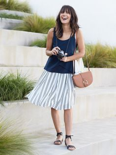 Love this skirt! Stripes are nice and the length is just right with the fullness,