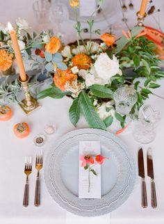 Jose Villa Mexico Workshop Week Two Welcome Dinner Fall Wedding Flowers, Autumn Wedding, Floral Wedding, Orange Grey Wedding, Wedding Place Settings, Reception Design, Mod Wedding, Wedding Menu, Wedding Reception