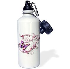 3dRose wb_167212_1 Golden accented vines and pretty multi colored butterfly Sports Water Bottle 21 oz White ** Click on the image for additional details.