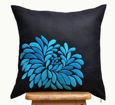 """Blue Dahlia Throw Pillow Cover - 18"""" x 18"""" Decorative Pillow Cover - Black"""