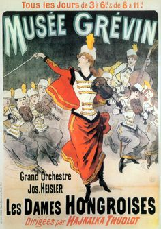 Musee Grevin Grand Orchestre Jos, Heisler Vintage Poster by Jules Cheret… Vintage Advertising Posters, Vintage Travel Posters, Vintage Advertisements, Retro Poster, Poster Ads, Poster Prints, Old Posters, Illustrations And Posters, Art Nouveau