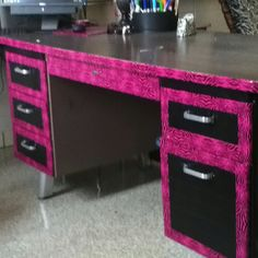 Look what duct tape can do to revive an old teacher desk!! There are more great inspirational examples at the site, so make sure to click through if you need ideas!