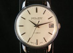 Vintage Poljot mens watch with date window russian watch ussr cccp