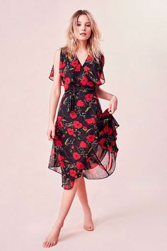 Keep things girly with this floral frilly dress.