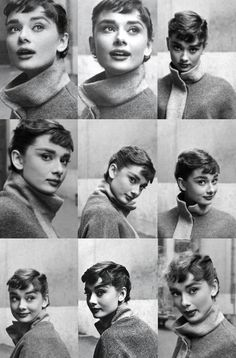 Audrey Hepburn / Born: Audrey Kathleen Ruston, May 1929 in Ixelles, Belgium / Died: January 1993 (age in Tolochenaz, Switzerland Brigitte Bardot, Audrey Hepburn Style, Audrey Hepburn Bangs, Audrey Hepburn Photos, Audrey Hepburn Hairstyles, Sabrina Audrey Hepburn, Audrey Hepburn Drawing, Michelle Williams, Facial Expressions