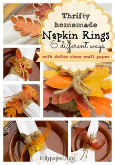 thrifty home made napkin rings with dollar store craft paper. decorated 6 different ways
