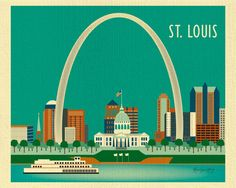 Louis, Missouri Skyline - City Art Poster Print for Wall Decor for Home, Office, and Nursery Rooms - 11 x 14 - style sold by Loose Petals. Shop more products from Loose Petals on Storenvy, the home of independent small businesses all over the world.