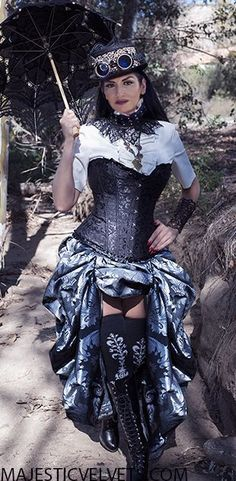 Steampunk Victorian Black Satin Corset with Silver Charcoal Damask Bustle Skirt