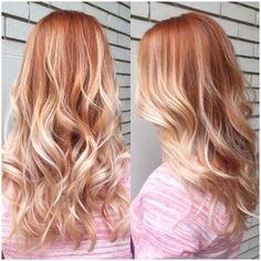 rusty red balayage blonde hair