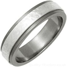 Ti2 6mm Titanium and Sandstone Textured Silver Inlay Ring