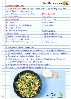 Diced Chicken, Chicken Spices, How To Cook Chicken, Chicken Chickpea, Chickpea Salad, Jenny's Kitchen, Rocket Salad, Delicious Restaurant, Salad Ingredients