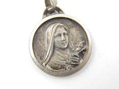 Vintage Saint Therese - Saint Christopher Catholic Medal - Religious Charms - Safe Travel Saints - Rosary Medallion - P70 by LuxMeaChristus on Etsy