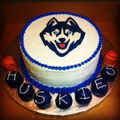 Uconn Huskies cake with cake pops Uconn Basketball, Basketball Birthday, Dog Cookies, Cupcake Cookies, Cupcakes, 12th Birthday, Birthday Parties, Birthday Cakes, Uconn Huskies