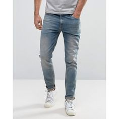 ASOS Skinny Jeans in Dusky Blue Wash ($39) ❤ liked on Polyvore featuring men's fashion, men's clothing, men's jeans, blue, tall mens jeans, mens flap pocket jeans, asos mens jeans, mens skinny jeans and mens blue skinny jeans