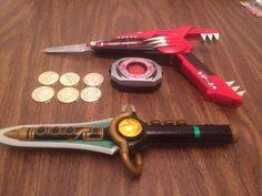 Mighty+Morphin+Power+Rangers+Morpher+Blaster+Dagger+All+6+Gold+Coins+White+Tiger