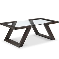 Magnussen Home Furnishings Visby Contemporary Espresso Rectangular Glass Top Coffee Table, Brown Welded Furniture, Iron Furniture, Steel Furniture, Table Furniture, Furniture Mattress, Glass Top End Tables, Glass Top Coffee Table, Coffee Table Design, Glass Wood Table