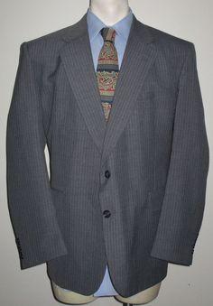 Men's Botany 500 Gray Pinstripe Suit 46R Pants 43x28 - Wool 2 Button #Botany500 #TwoButton