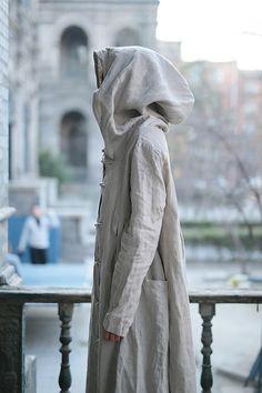 Linen dress Cotton dress Linen coat Hooded Long sleeve by Luckywu