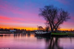 A purple dawn as the sun rises over the Rufford Branch of the Leeds and Liverpool canal yesterday morning - where temperatures are above average for the time of year London Bath, Royal Pavilion, Beautiful Park, Beautiful Buildings, Leeds, Rivers, Ibiza, Brighton, Liverpool