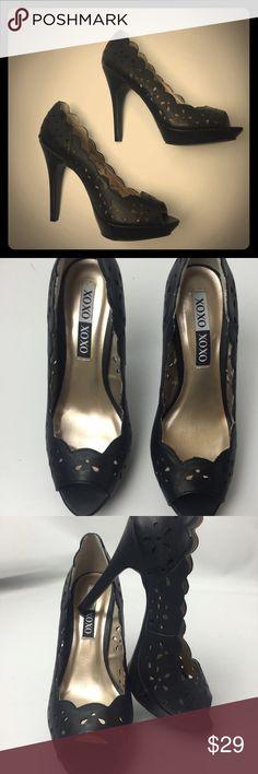 "XOXO black laser cut pattern, peep toe high heels NIB. True to size .peep toe. Laser cut "" lace pattern "" platform is 1.5"" high, heel is 4.75"" tall. Box included xoxo Shoes Heels"