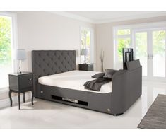 Liberty Wilson Grey Fabric TV Bed with storage