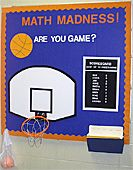 This bulletin board requires that the students take 10 free throws at the basket ball hoop. They will need to do this in order to achieve an 11th score need to complete the worksheet. They will also need to get the other 10 scores off the scoreboard.