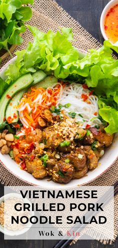 Our Bun Thit Nuong has rice noodles topped with fresh herbs, pork and a sweet and sour dipping sauce. Prep in advance for an easy meal! #vietnamesenoodlesalad #asiannoodlesalad #porknoodlesalad Vietnamese Noodle Salad, Vietnamese Grilled Pork, Marinated Pork, Pork Noodles, Rice Noodles, Thit Nuong Recipe, Asian Noodle Recipes, Pork Salad, Asian Pork