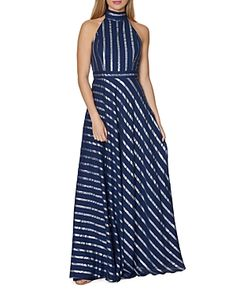 Laundry by Shelli Segal Metallic Stripe Gown Women - Dresses - Evening & Formal Gowns - Bloomingdale's Metallic Evening Dresses, Formal Evening Dresses, Formal Gowns, Gowns Online, Laundry By Shelli Segal, Groom Dress, Navy Women, Dress Up, Dress Collection
