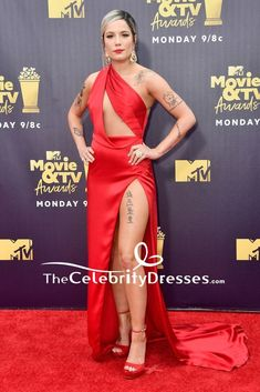 #Halsey #RedDresses #Cut Out Formal #EveningDress #2018MTV Movie & TV Award - #Sexy #CelebrityDresses