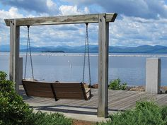 One of the swings at Waterfront Park to enjoy the Lake Champlain view in Burlington, Vermont #btv