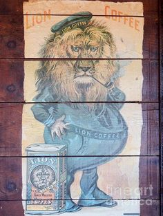 LION Coffee is owned by Hawaii Coffee Company, the largest roaster and distributor of gourmet coffee in Hawaii. I decopodged this Lion Coffee on a crate thirty years ago. Lion Photography, Macro Photography, Lion Coffee, Coffee Company, Vintage World Maps, Wall Art, Painting, Painting Art, Paintings