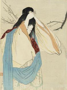 Kajita Hanko - Plum, 1908 (ukiyo-e) Japanese Illustration, Art Et Illustration, Illustrations, Art Geisha, Art Occidental, Japanese Woodcut, Culture Art, Japan Painting, Art Asiatique