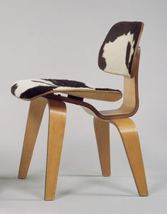 DCW side chair, 1946 by Charles and Ray Eames (birch plywood, pony skin, rubber mounts)