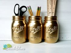 Dorm Decor  Gold Painted Ball Mason Jars  Vase  by BeachBlues,