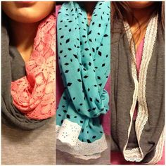 DIY scarves by me :) I like the pink and gray one
