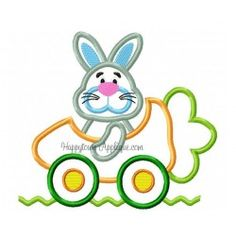 Carrot Car Bunny Applique Design