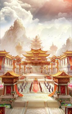 Fantasy Art Landscapes, Fantasy Landscape, Ancient Chinese Architecture, Doodle Art Designs, Anime Scenery, Hanfu, Background S, Fantasy World, Character Art