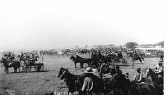 Start of 1893 Oklahoma land run. Photographer: A. A. Forbes. Robert E. Cunningham Oklahoma History Collection 2000.005.9.1872