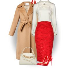 Red skirt and shoes by ginga1203 on Polyvore featuring polyvore fashion style Dolce&Gabbana MaxMara Jane Norman Christian Louboutin DKNY Oscar de la Renta