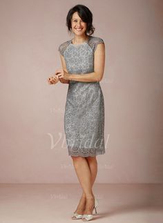 Mother of the Bride Dresses - $129.99 - Sheath/Column Scoop Neck Knee-Length Satin Lace Mother of the Bride Dress (0085095757)