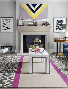love the geometric print above the mantle!